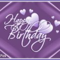 Lilac hearts birthday card - 613