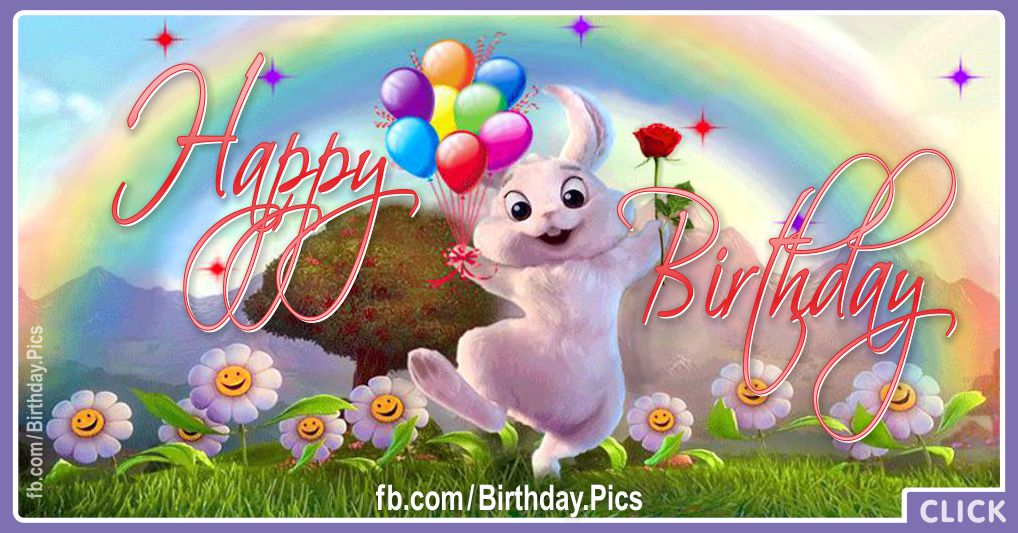 Happy birthday with cute rabbit - 611