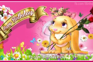 Cute Girly Bunny Birthday Card