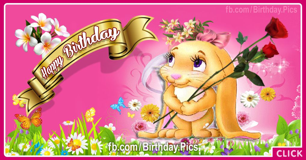 Cute girly bunny birthday card - 612