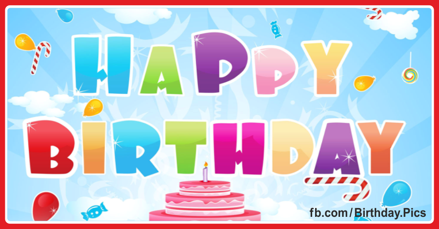 Colorful happy birthday card with pink cake 018