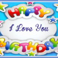 Happy birthday card with colored stars 020