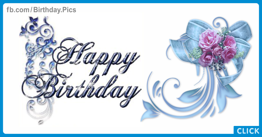 Happy Birthday Card with Pink Roses - 0034
