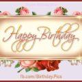 Golden plaque vintage roses birthday card - 615
