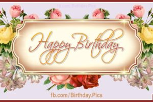 Golden Plaque Vintage Roses – Happy Birthday to You