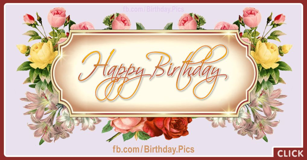 Golden plaque vintage roses birthday card - 615