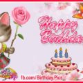 Cute kitty with pink rose birthday card - 616