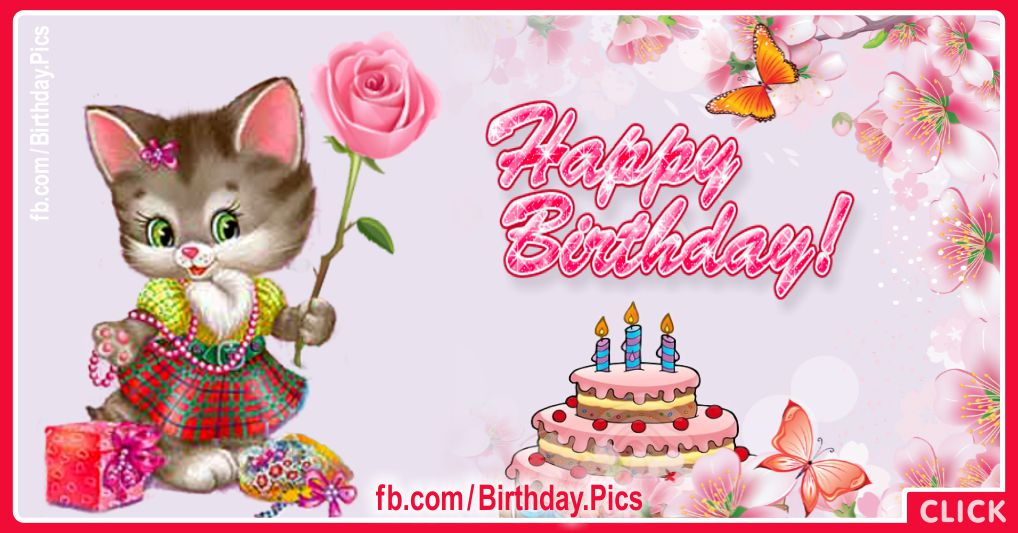 Kitty Pink Rose Birthday Card