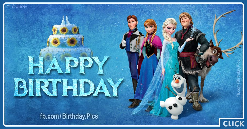 Frozen characters says you happy birthday - FZN006