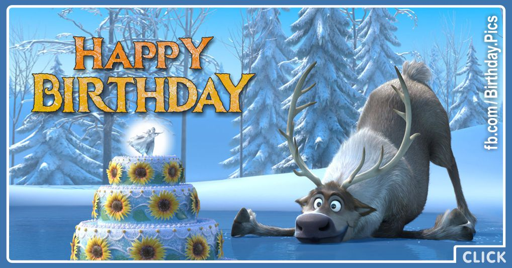 Frozen Sven the reindeer celebrates your birthday - FZN010