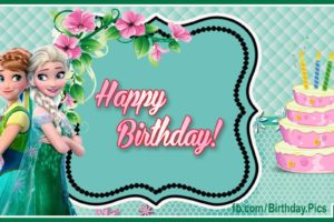 Elsanna Green Card – Frozen Happy Birthday Card