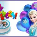 Blue Frozen cake birthday card - FZN012