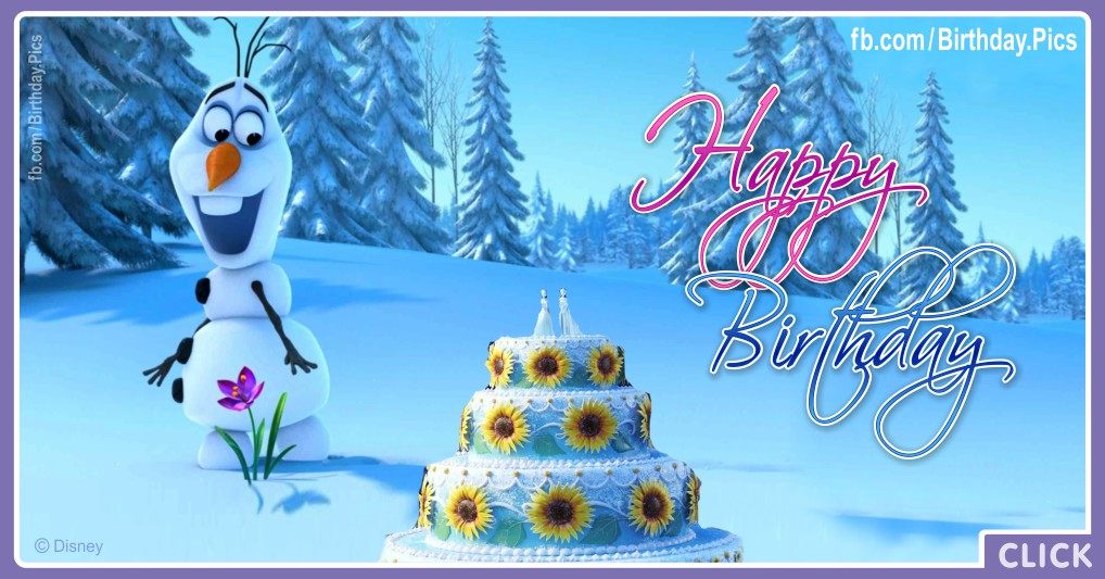 Frozen birthday cake and Olaf picture - FZN013