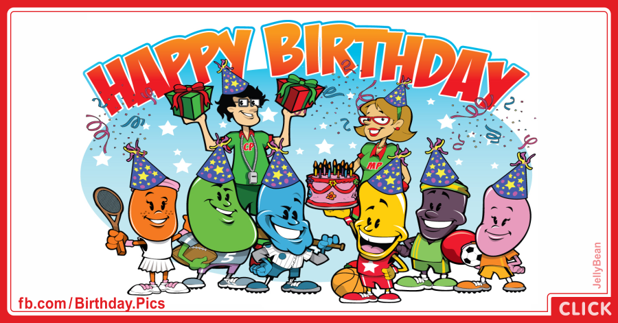 Jelly bean family birthday party card - 059
