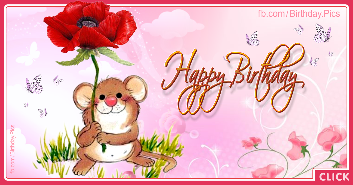 Cute Mouse Happy Birthday Card - 043a