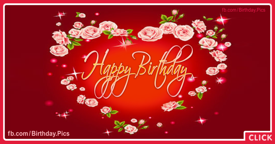 Happy birthday card with rose-heart - 061