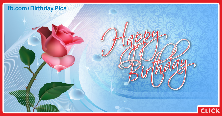 Single pink rose happy birthday card - 067