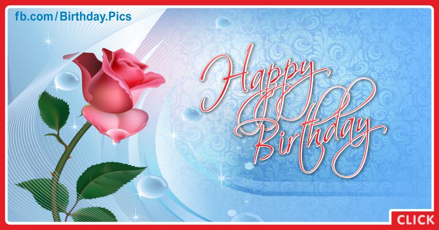 Single pink rose happy birthday card - 067