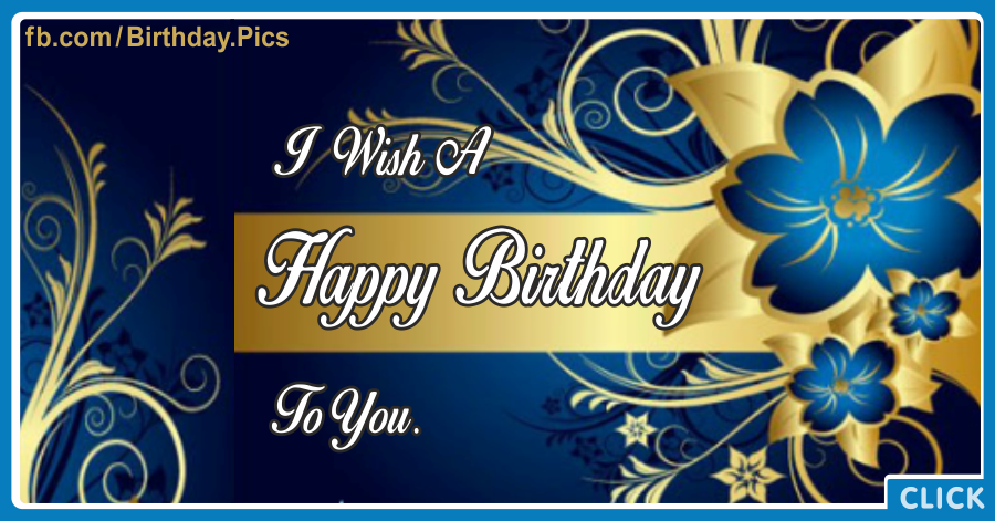 Blue flowers happy birthday card - 068