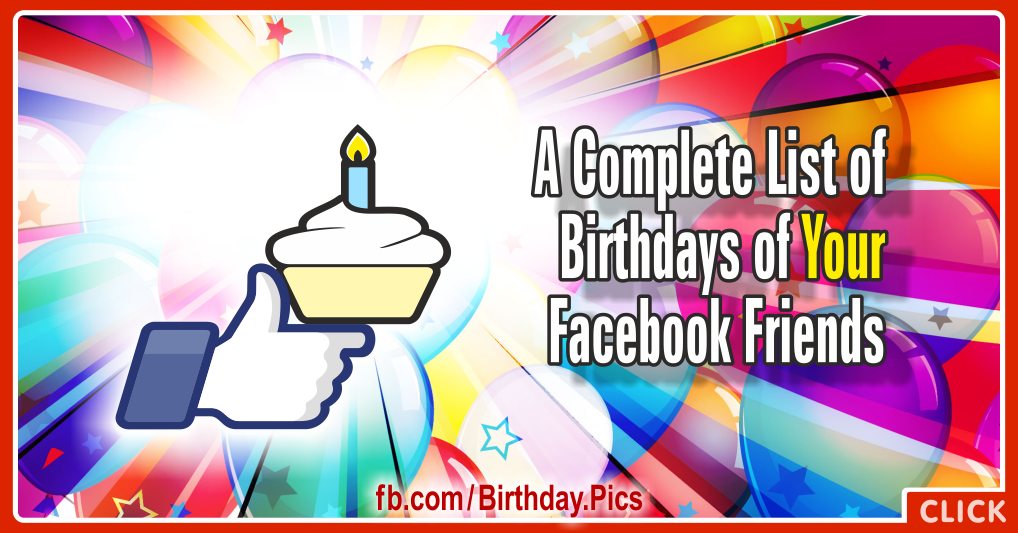 Birthdays list of your Facebook friends - 01