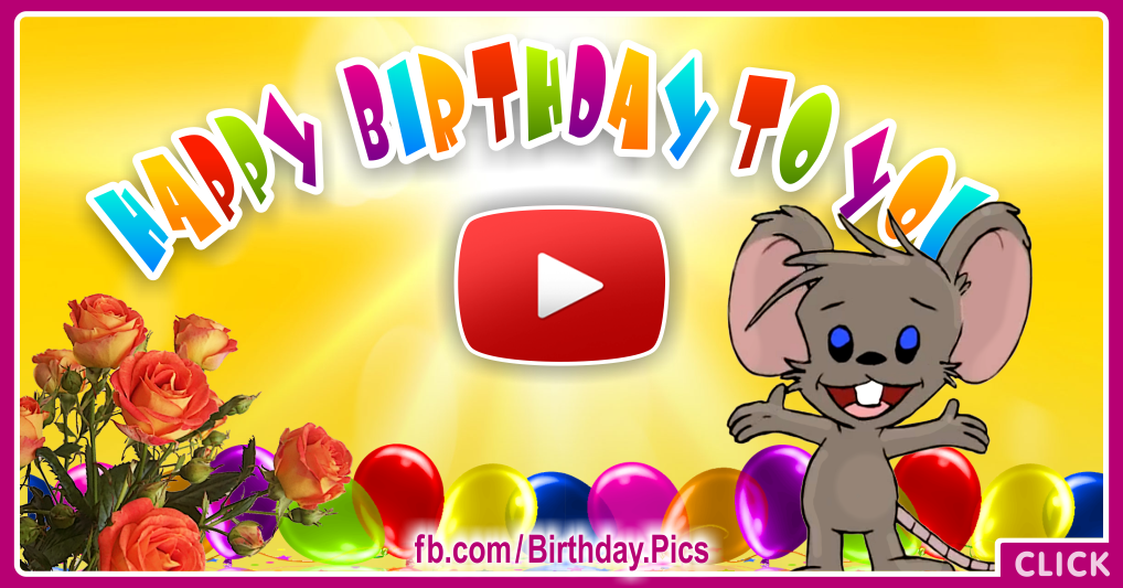 Cute Mouse Birthday Song Video Card