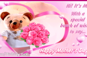 Happy Mothers Day Cute Card With Pink Gift Roses