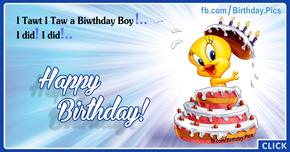 Cute His Tweety Birthday Cake Card for celebrating