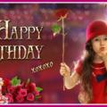Little girl kiss happy birthday card
