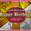 God Bless You Vintage Happy Birthday Card