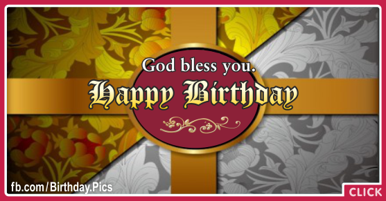 God Bless You Vintage Happy Birthday Card