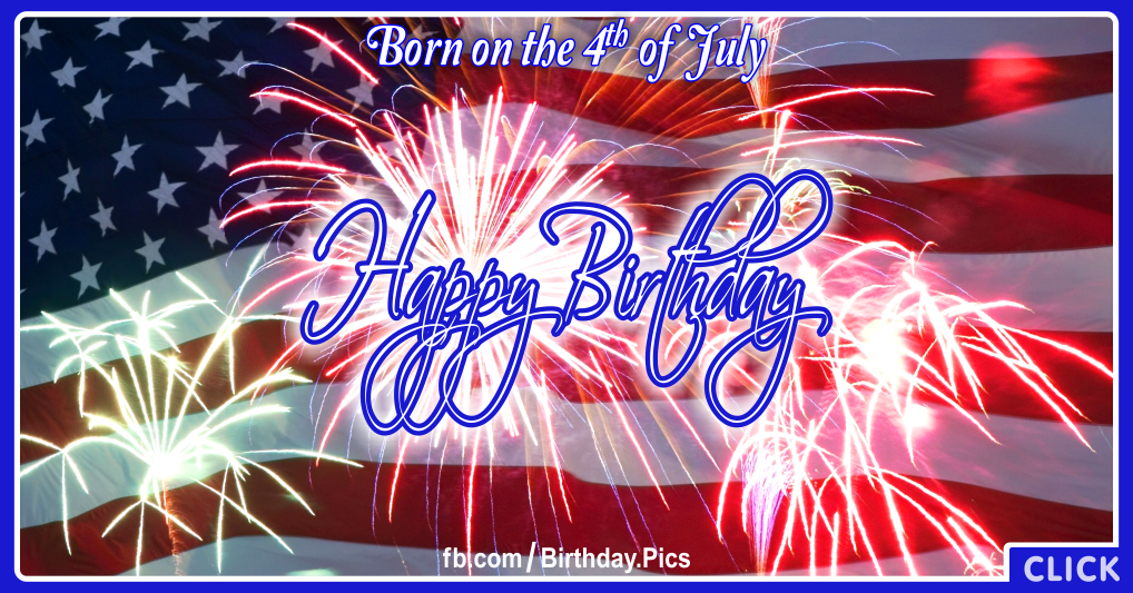 4th July Happy Birthday Card 9 for celebrating