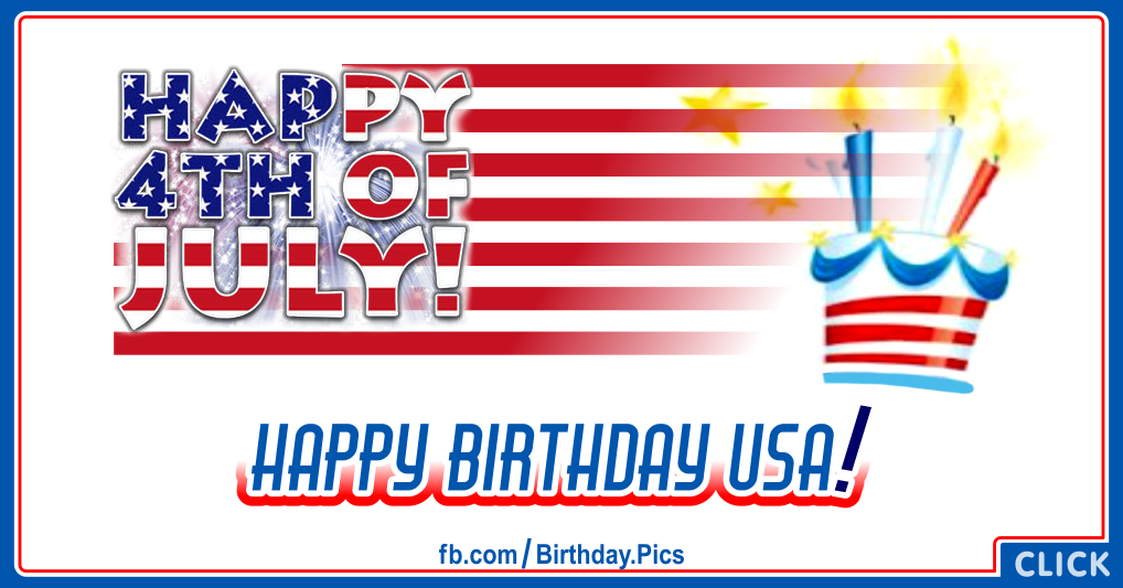 4th July Happy Birthday USA Card 04