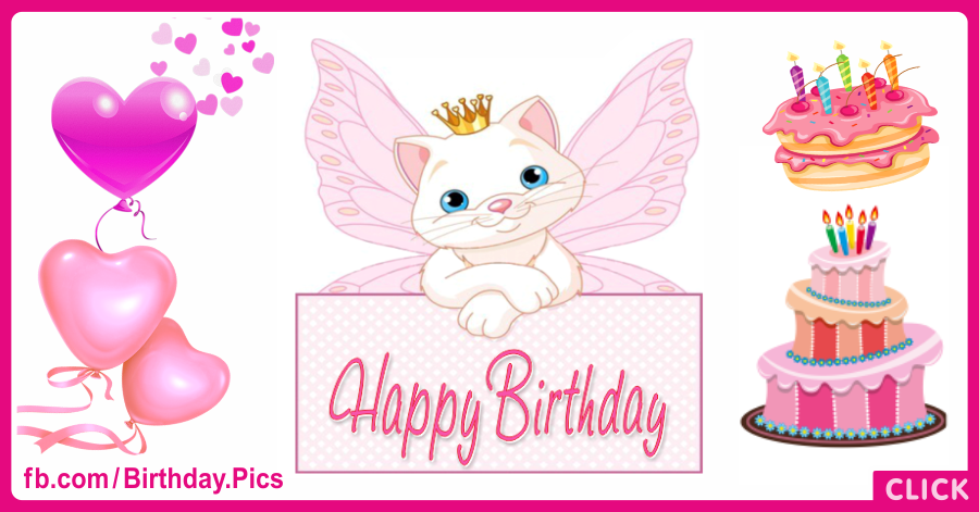 Angle Pink Pussy Cat Happy Birthday Card