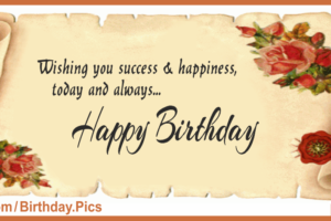 Decorated Antique Paper Happy Birthday Card For You