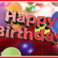 Balloons 3D Text Happy Birthday Card