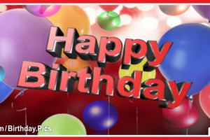 Balloons And Ruby 3D Text Happy Birthday Card For You