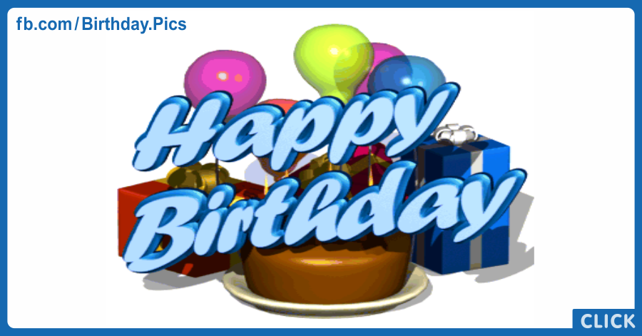 Blue 3D Happy Birthday Card