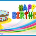 Blue Cake Happy Birthday Card