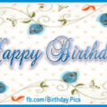 Blue Flowers Drawing Happy Birthday Card