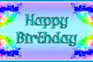 Blue Red Green Happy Birthday Card