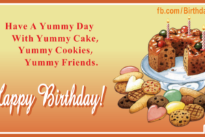 Cake Cookies Yummy Happy Birthday Card