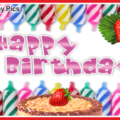 Candles And Strawberry Birthday Card