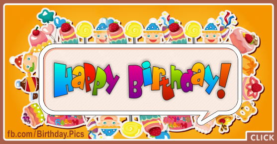Candy Frame Yellow Happy Birthday Card Happy Birthday Videos And