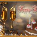Champagne Cake Happy Birthday Card