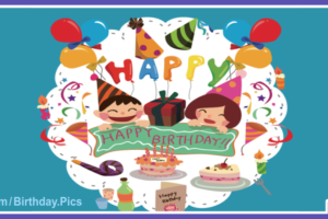Cheerful Children Happy Birthday Card