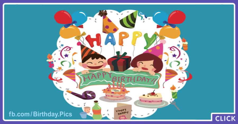 Cheerful Children Happy Birthday Card
