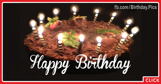 Chocolate Cake Candles Happy Birthday Card for celebrating