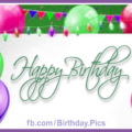 Colored Balloons On Green Birthday Card