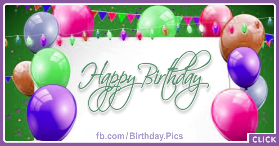 Colored Balloons On Green Birthday Card for celebrating