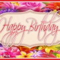 Colorful Flowers Stylish Happy Birthday Card